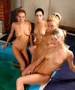 Nude girls in jacuzzi