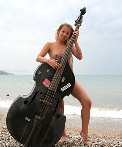 Sweet nude girl got double bass