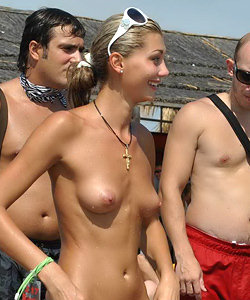Candid topless women