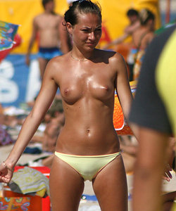 Puffy nipples on the nude beach