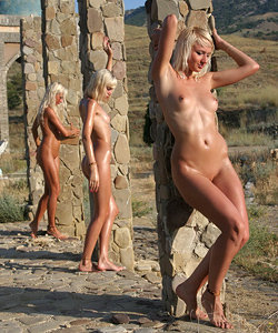 Nude blondes outside