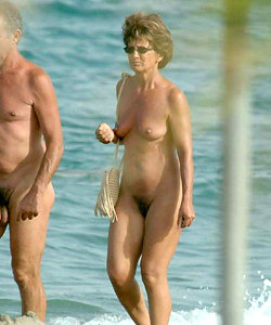 Old women on nude beach